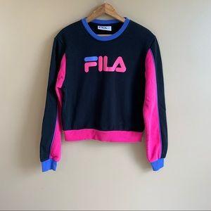 FILA colorblock cropped sweatshirt retro neon MED